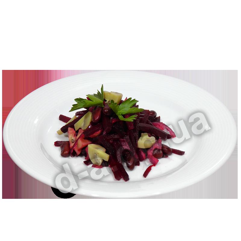 Салат из свеклы с шампиньонами и фасолью