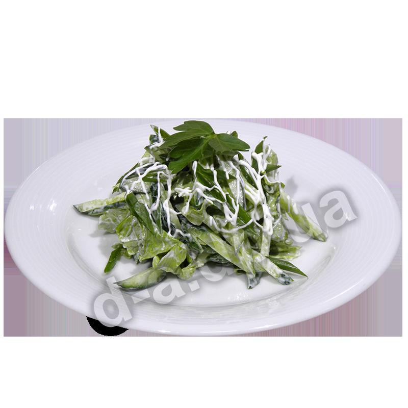 Зеленый с огурцом и сметаной